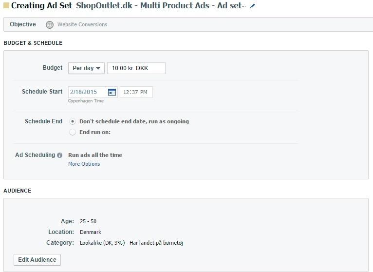 ad sets indstillinger multi product ads