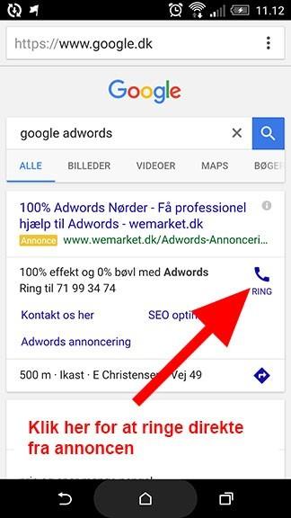 Eksempel på opkaldssporing i Adwords annoncer