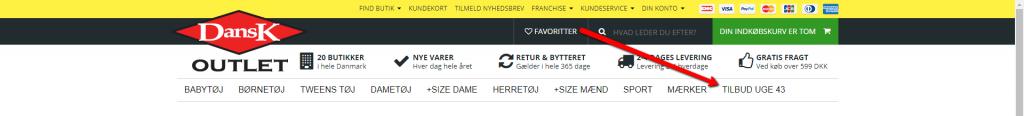 Dansk Outlet har et menupunkt, der henviser til deres tilbud i denne uge. På samme måde kan man lave et menupunkt til Black Friday