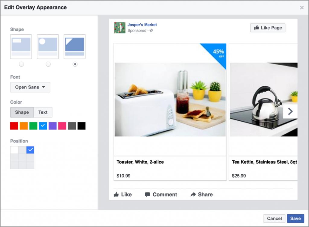 Facebook DPA Overlay Price editor