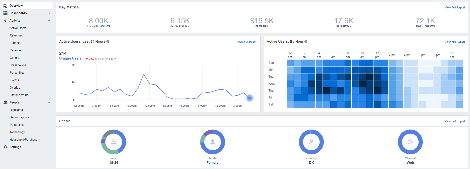 Facebook Analytics interface