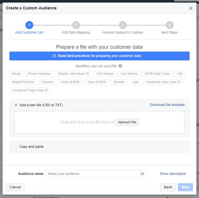 Opret custom audience eller brugerdefineret målgruppe i Facebook