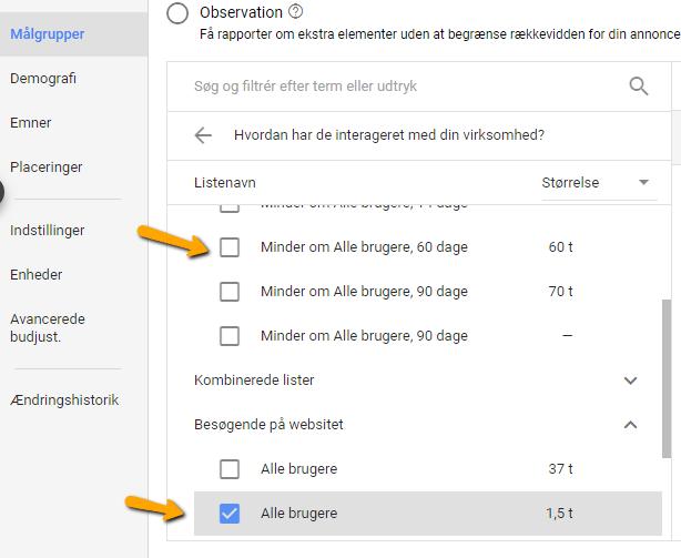 Display remarketing - minder om Alle brugere