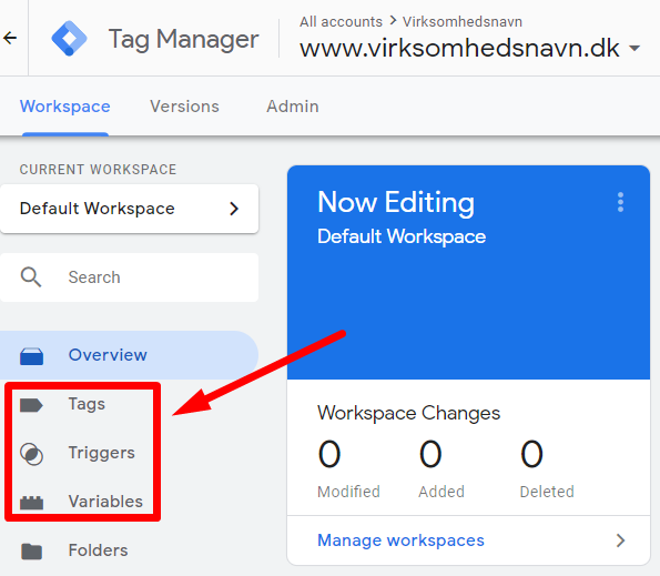 Tags, triggers og variabler i Google Tag Manager