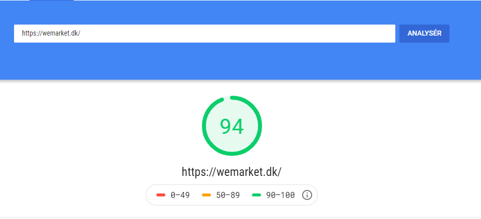 Page Speed for WeMarket