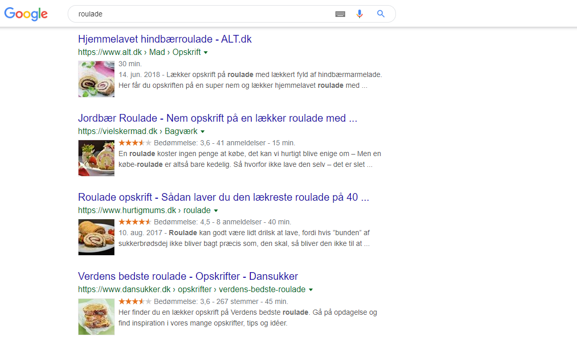 Roulade rich snippets