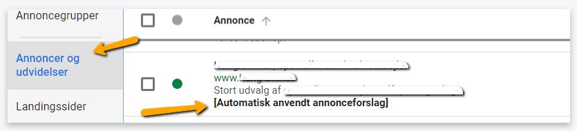Automatisk anvendt annonceforslag