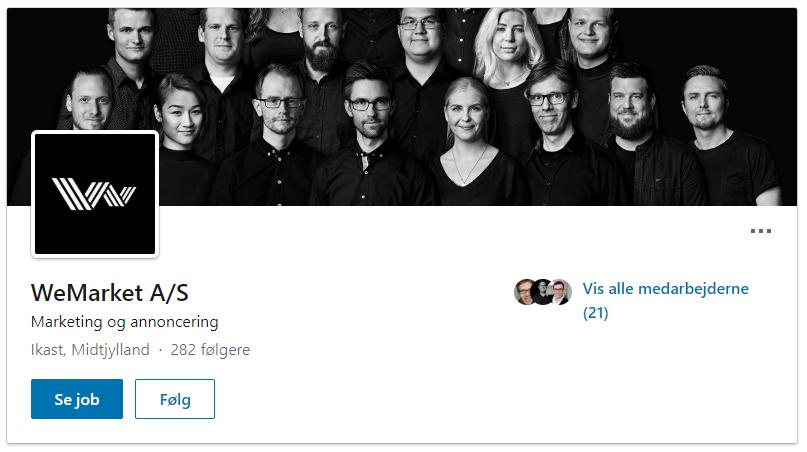 Desktopvisning af Virksomheds profil på LinkedIn