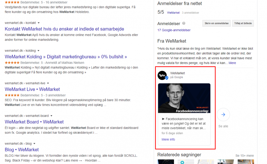 Et opslag på Google My Business