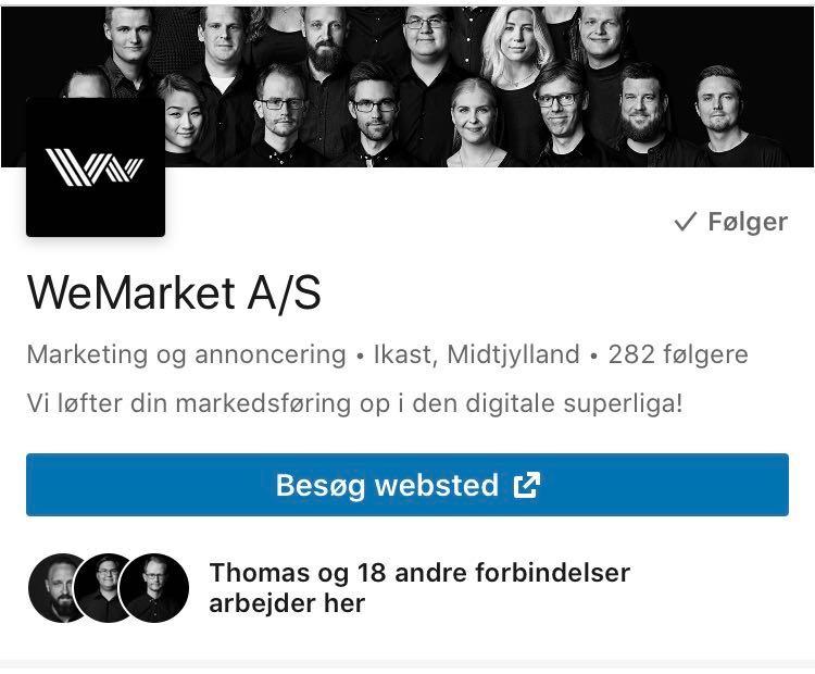 Mobilvisning af Virksomheds profil på LinkedIn