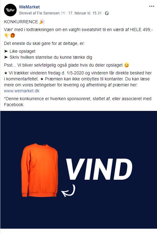 Konkurrenceopslag på Facebook korrekt